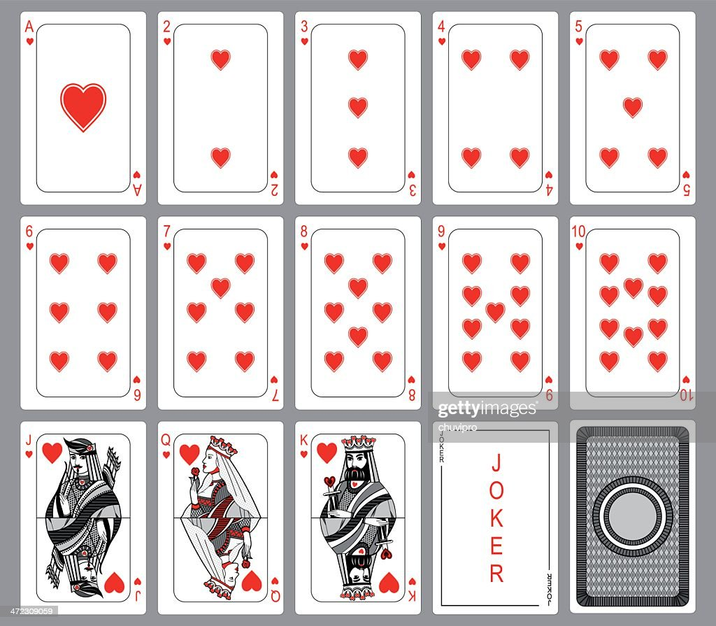 Playing cards suit of hearts