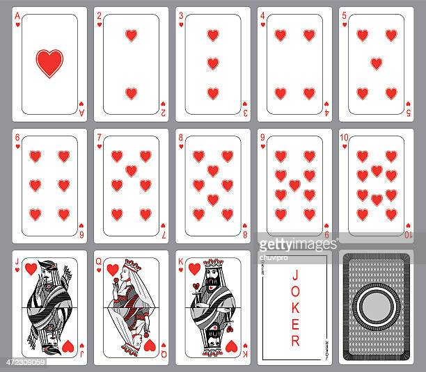 playing cards suit of hearts - joker card stock illustrations, clip art, cartoons, & icons
