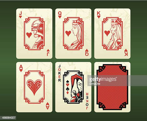 playing cards (hearts) - queen royal person stock illustrations