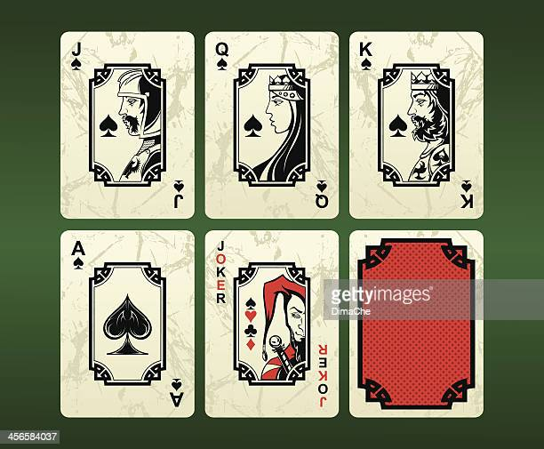 playing cards (spades) - joker card stock illustrations, clip art, cartoons, & icons