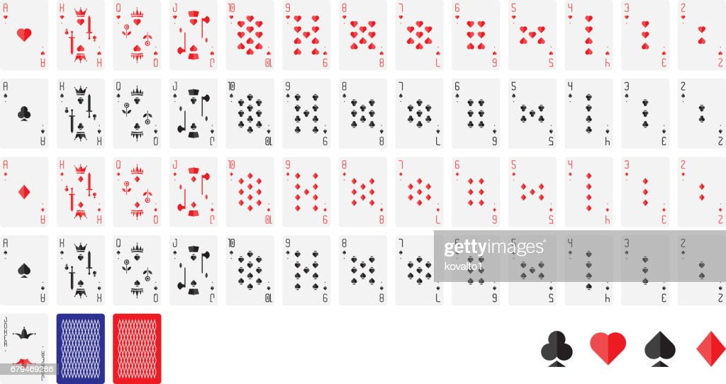 Playing cards, vector illustration. Poker set isolated on white background