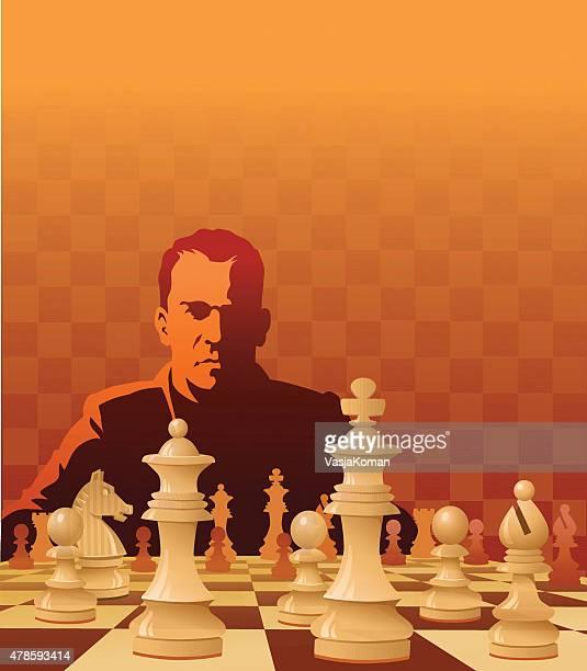 Jugando al ajedrez naranja, rojo con espacio de copia