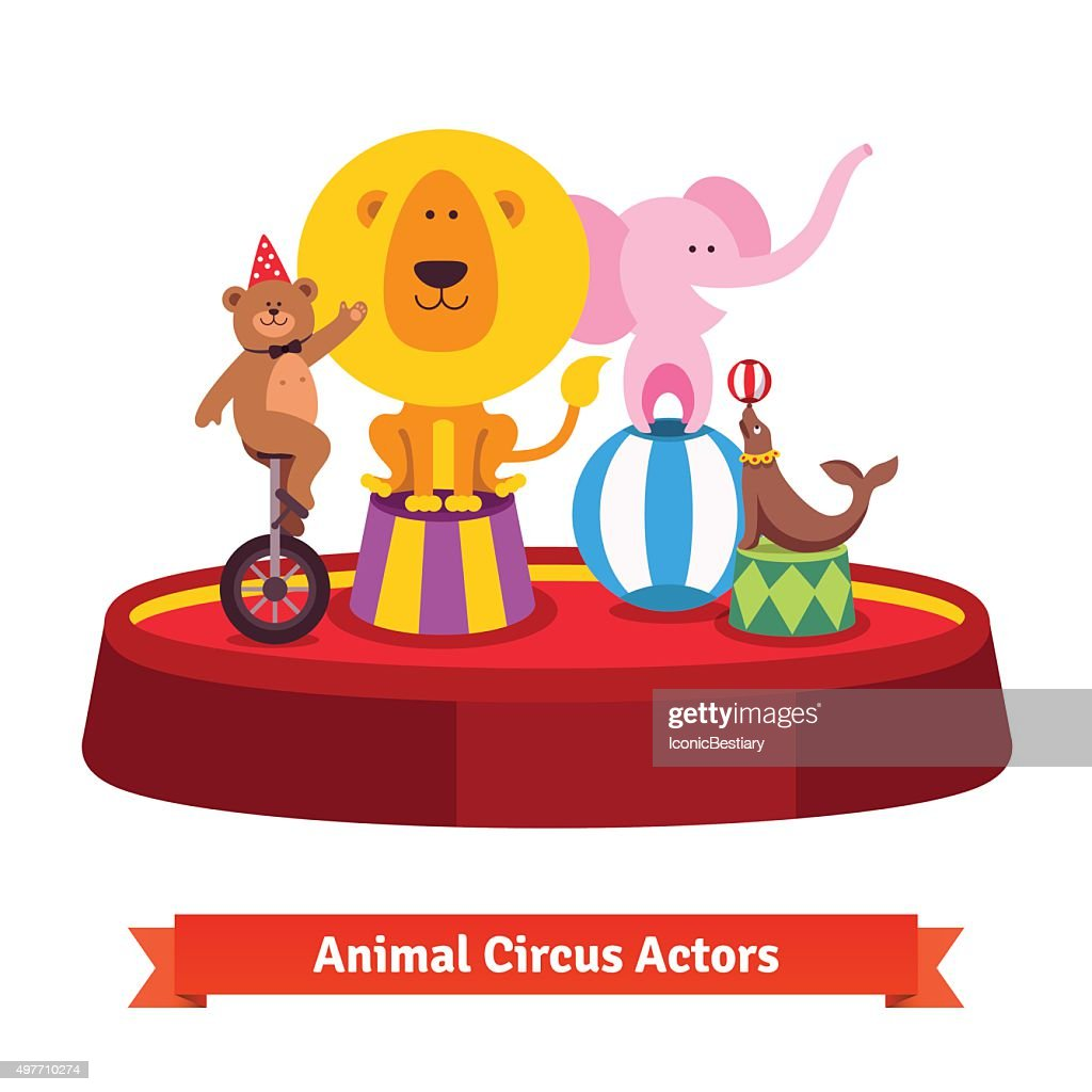 Playing circus animals show on red arena