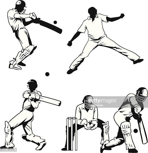 stockillustraties, clipart, cartoons en iconen met playing cricket series - test cricket