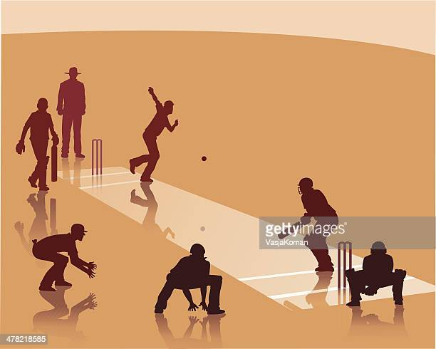 playing cricket - batting stock illustrations