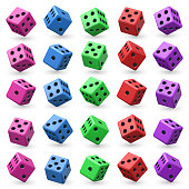 Playing dice vector set. 3d cube with numbers for board casino game