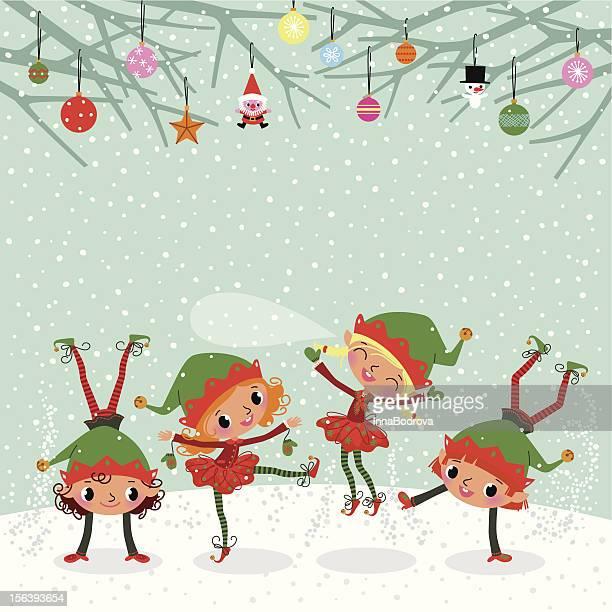 illustrations, cliparts, dessins animés et icônes de jouant elfes. - lutin