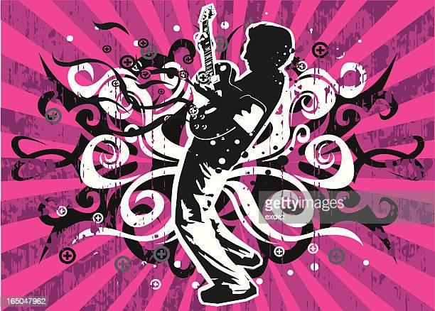 ilustraciones, imágenes clip art, dibujos animados e iconos de stock de tocando guitarra con grunge - bajo eléctrico
