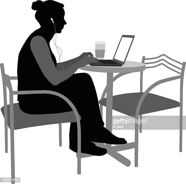 playing or studying young adult - using laptop stock illustrations