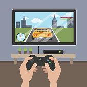 Playing racing videogame.