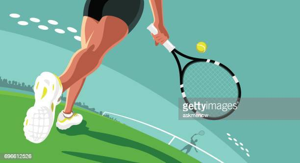 playing tennis - tennis player stock illustrations