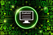Playlist  Icon on Money and Cryptocurrency Background