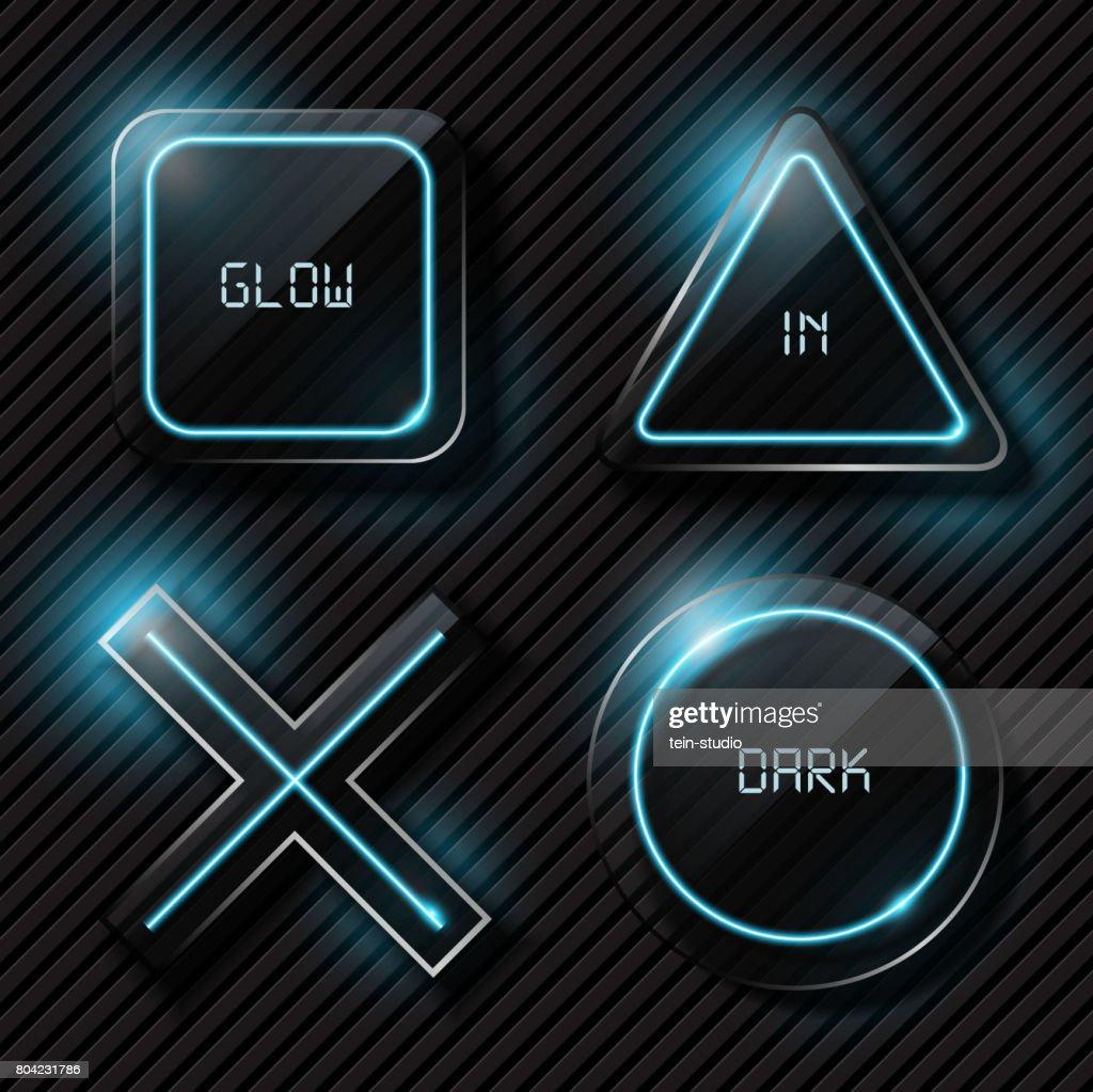 Playstation symbol on dark glass