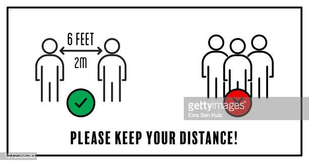 bitte halten sie ihr distanzkonzept mit bearbeitbarem strich - abstand halten infektionsvermeidung stock-grafiken, -clipart, -cartoons und -symbole