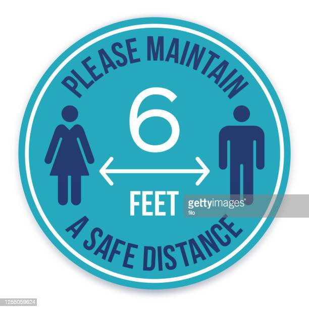 please maintain a safe distance social distancing message - mid distance stock illustrations