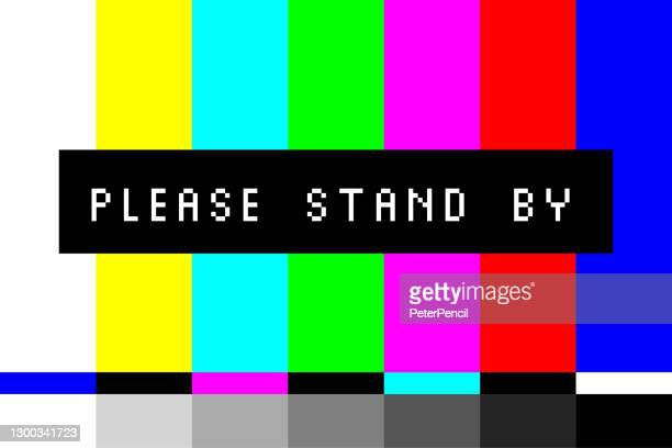 スタンバイしてください - テレビ画面テストテレビテストパターンストライプ。レトロスタイルのスクリーンセーバー。ベクトルの図 - 懇願する点のイラスト素材/クリップアート素材/マンガ素材/アイコン素材