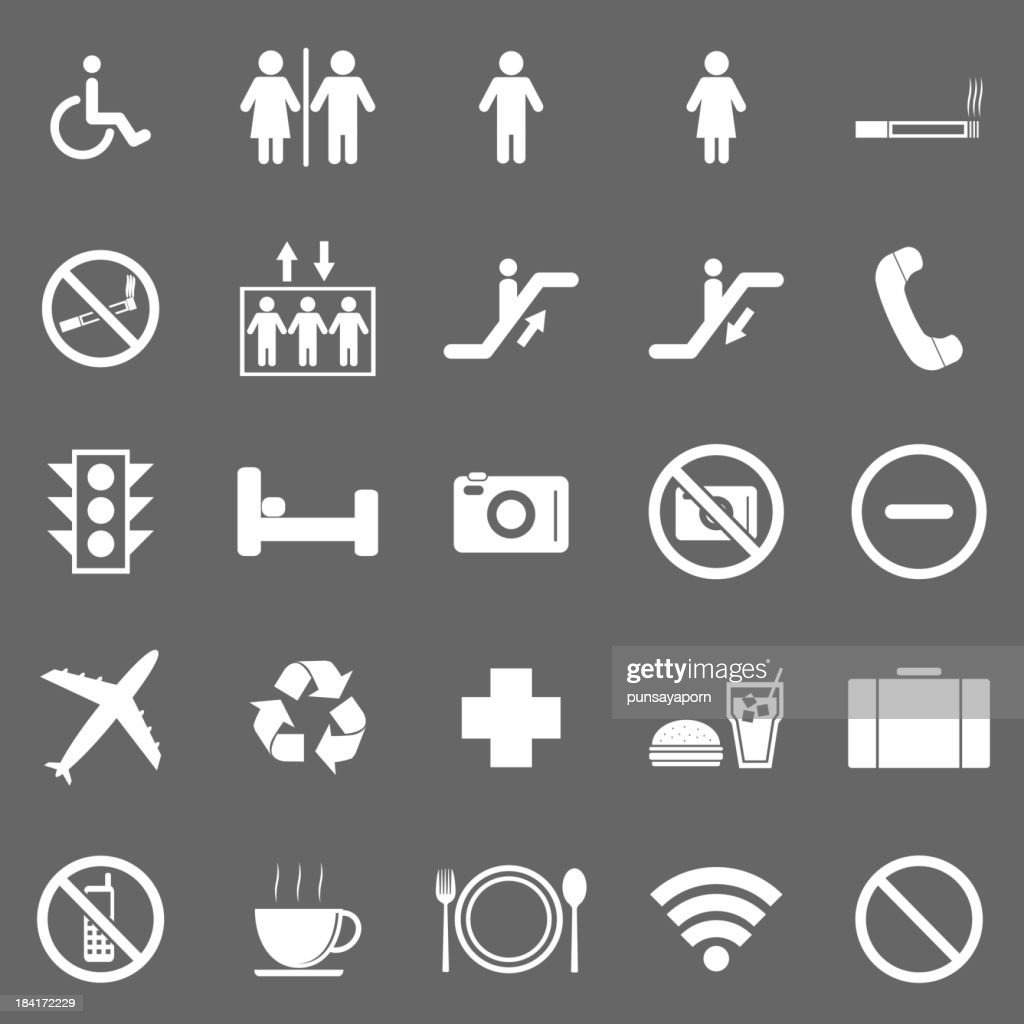 Plublic icons on gray background