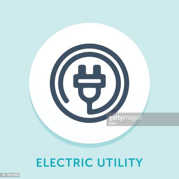 plug curve icon - electric plug stock illustrations, clip art, cartoons, & icons