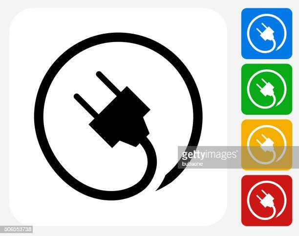 plug icon flat graphic design - electric plug stock illustrations