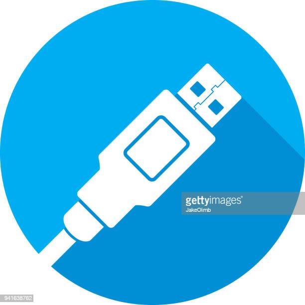 usb plug icon silhouette - usb cable stock illustrations, clip art, cartoons, & icons