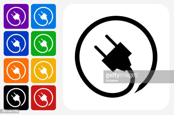 plug icon square button set - electric plug stock illustrations