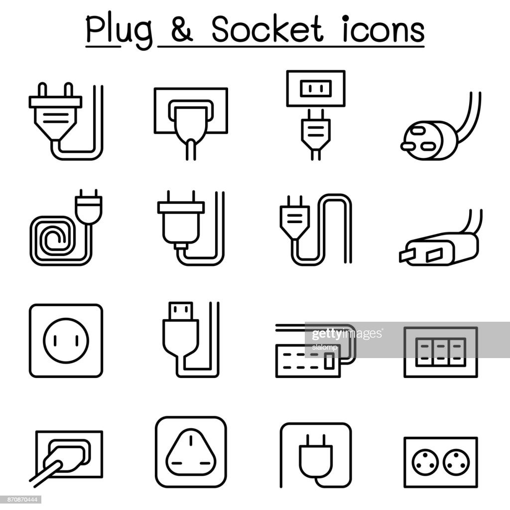 Plug & Socket icon set in thin line style