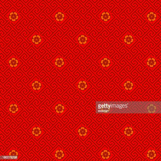plum blossom seamless pattern - chinese culture stock illustrations