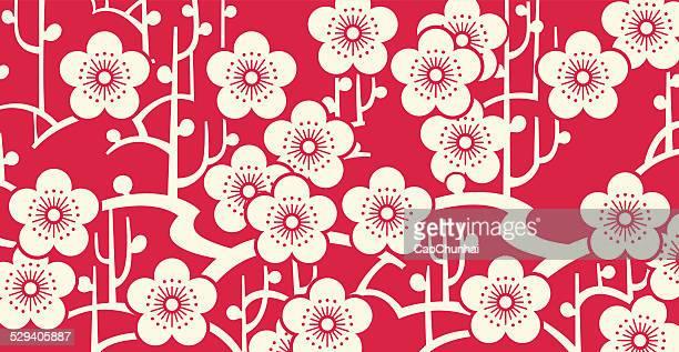 plum blossom - kunst, kultur und unterhaltung stock-grafiken, -clipart, -cartoons und -symbole