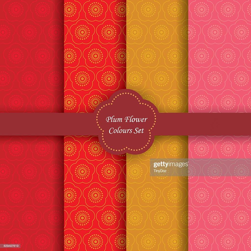Plum flower colors set.