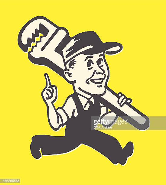 plumber and large wrench - plumber stock illustrations, clip art, cartoons, & icons