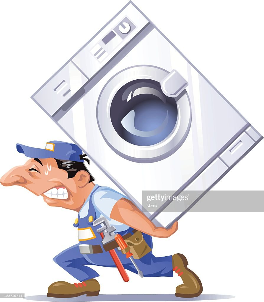 Plumber Carrying a Washing Machine
