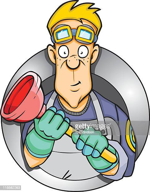 plumber plunger - plunger stock illustrations, clip art, cartoons, & icons
