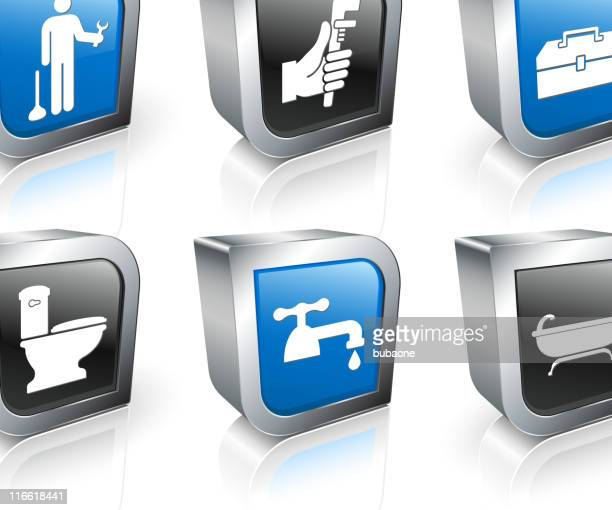 plumber square royalty free vector icon set - plunger stock illustrations, clip art, cartoons, & icons