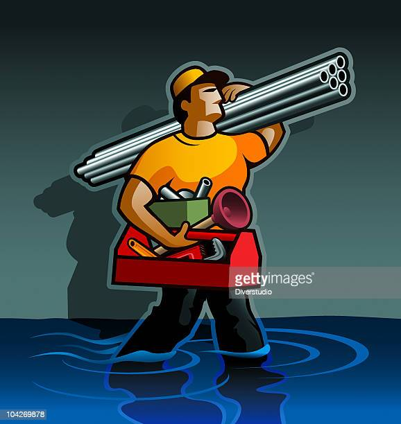 plumber - boiler stock illustrations, clip art, cartoons, & icons