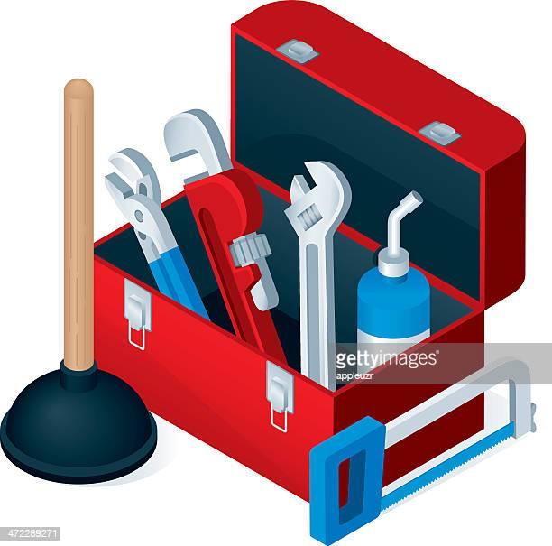 ilustraciones, imágenes clip art, dibujos animados e iconos de stock de caja de herramientas del fontanero - caja de herramientas