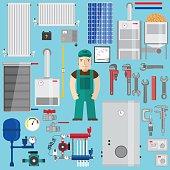 Plumbing and heating elements. Heating equipment.