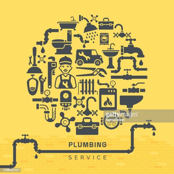 plumbing concept design - household fixture stock illustrations