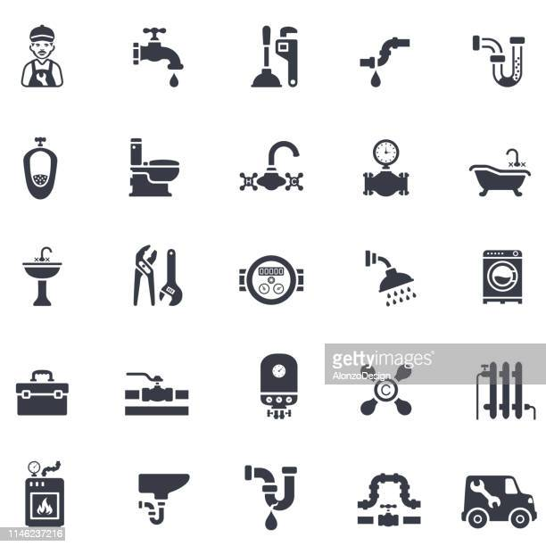 plumbing icon set - boiler stock illustrations, clip art, cartoons, & icons