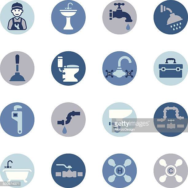 plumbing icon set - plunger stock illustrations, clip art, cartoons, & icons