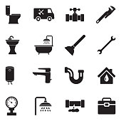 Plumbing Icons. Black Flat Design. Vector Illustration.