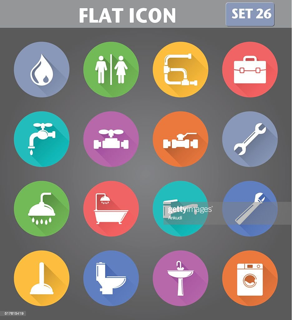 Plumbing Icons set in flat style
