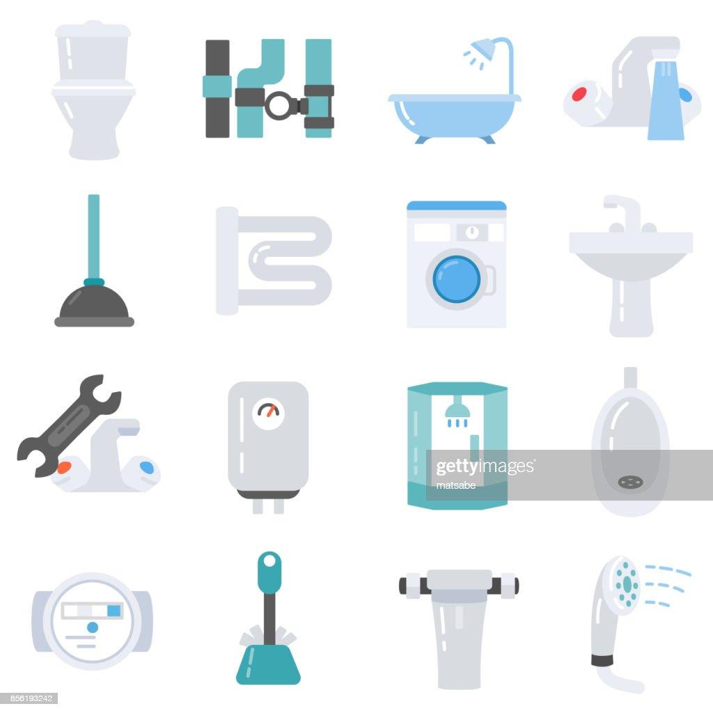 Plumbing icons set.