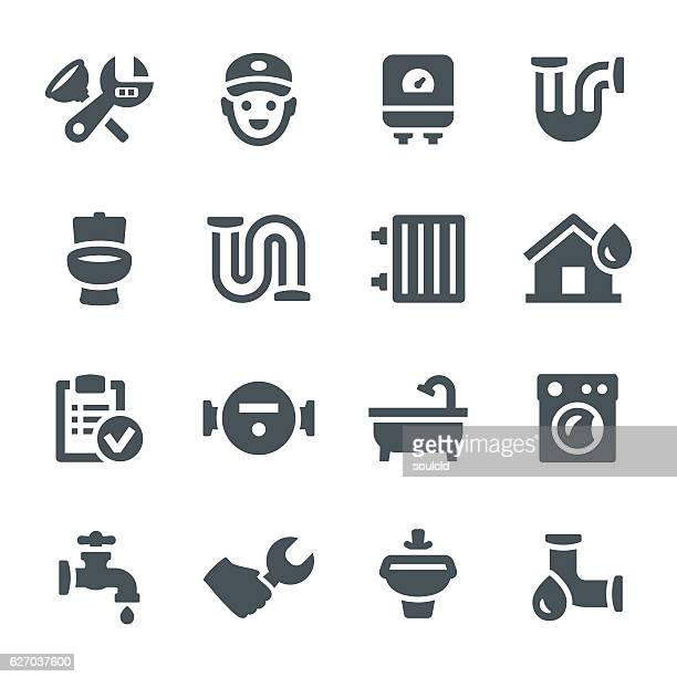 plumbing icons - boiler stock illustrations, clip art, cartoons, & icons