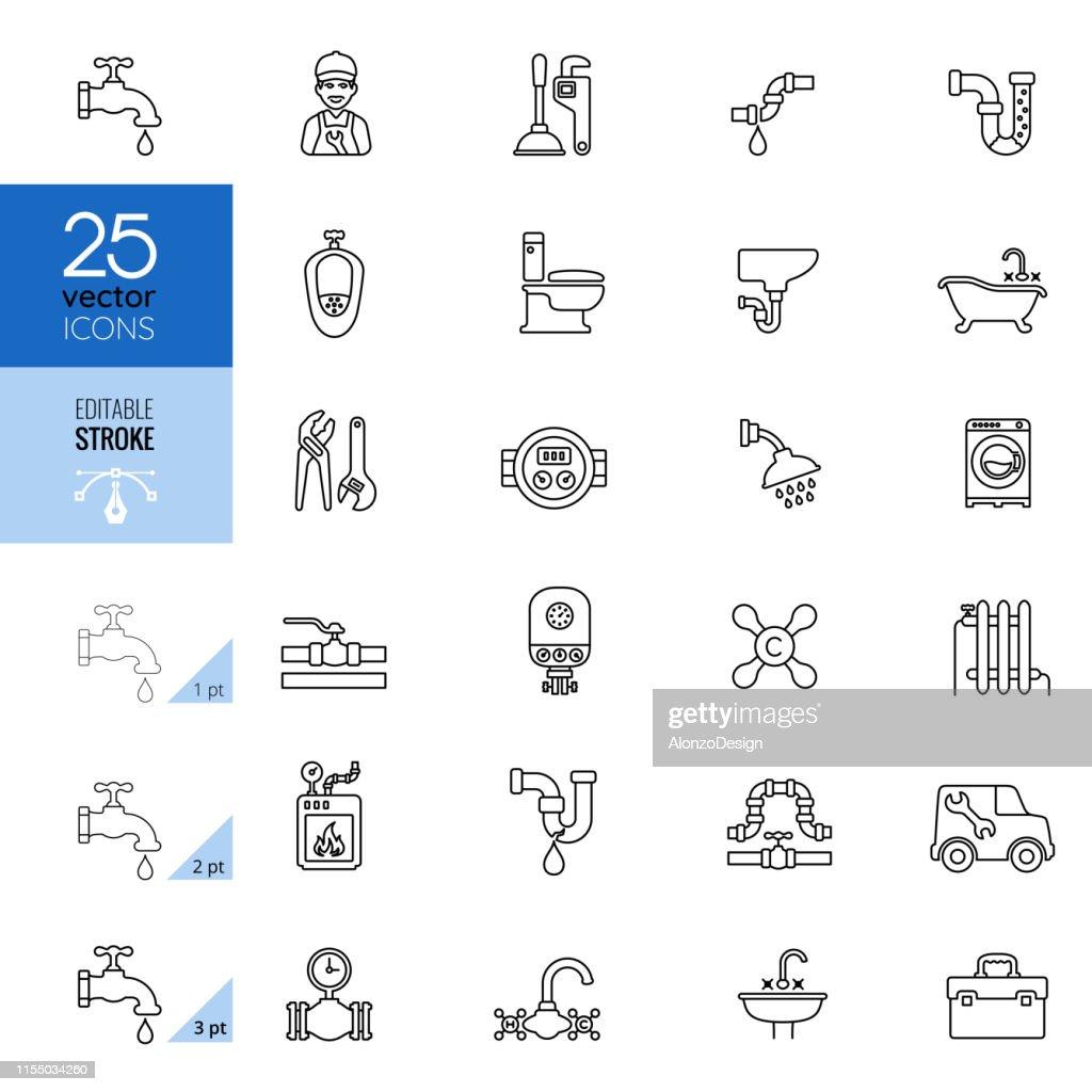 Plumbing Line Icon Set. Editable Stroke. : stock illustration