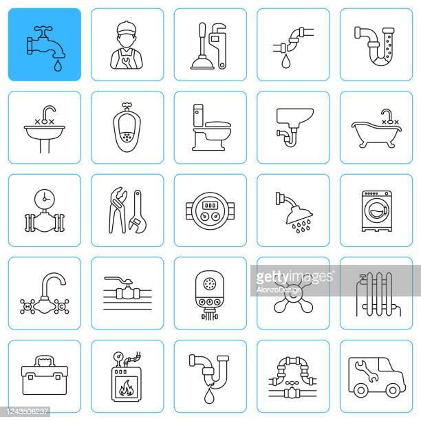 illustrations, cliparts, dessins animés et icônes de icônes de ligne de plomberie. accident vasculaire cérébral modifiable. - cuvette des toilettes