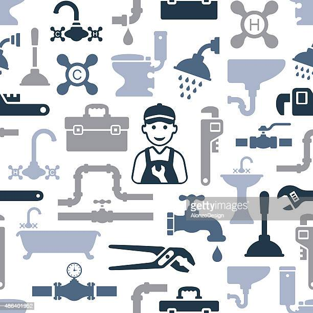 plumbing pattern - plunger stock illustrations, clip art, cartoons, & icons