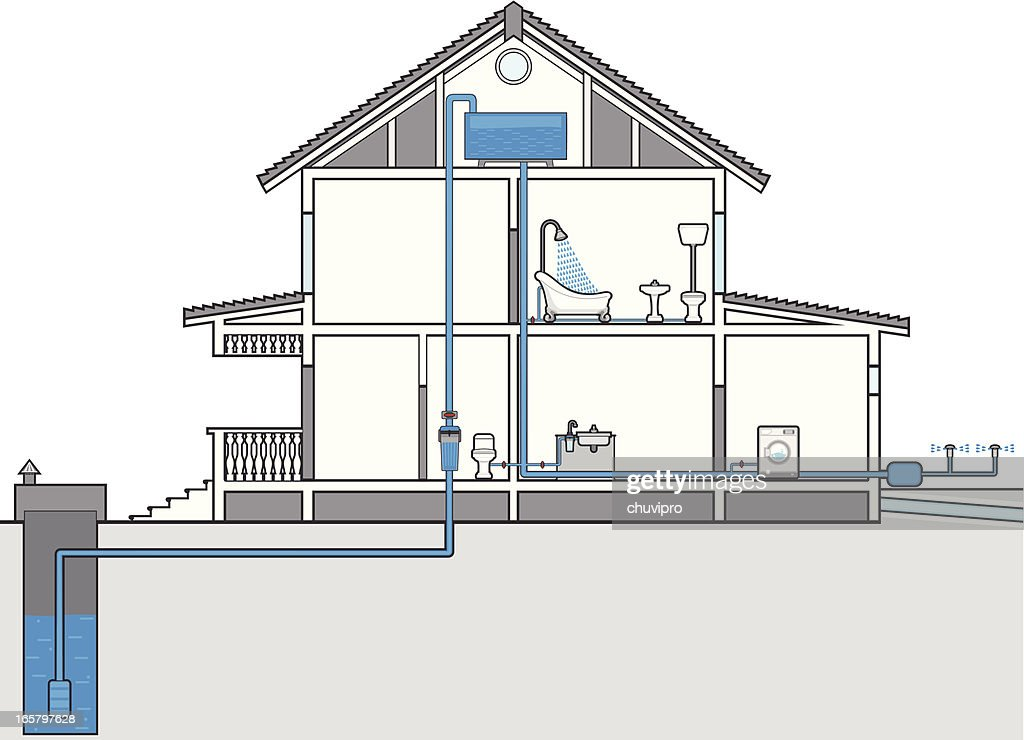 Cutaway Illustration Of House With Plumbing Plan Vector Art | Getty ...