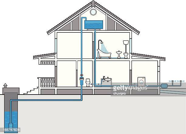 plumbing plan - cross section stock illustrations