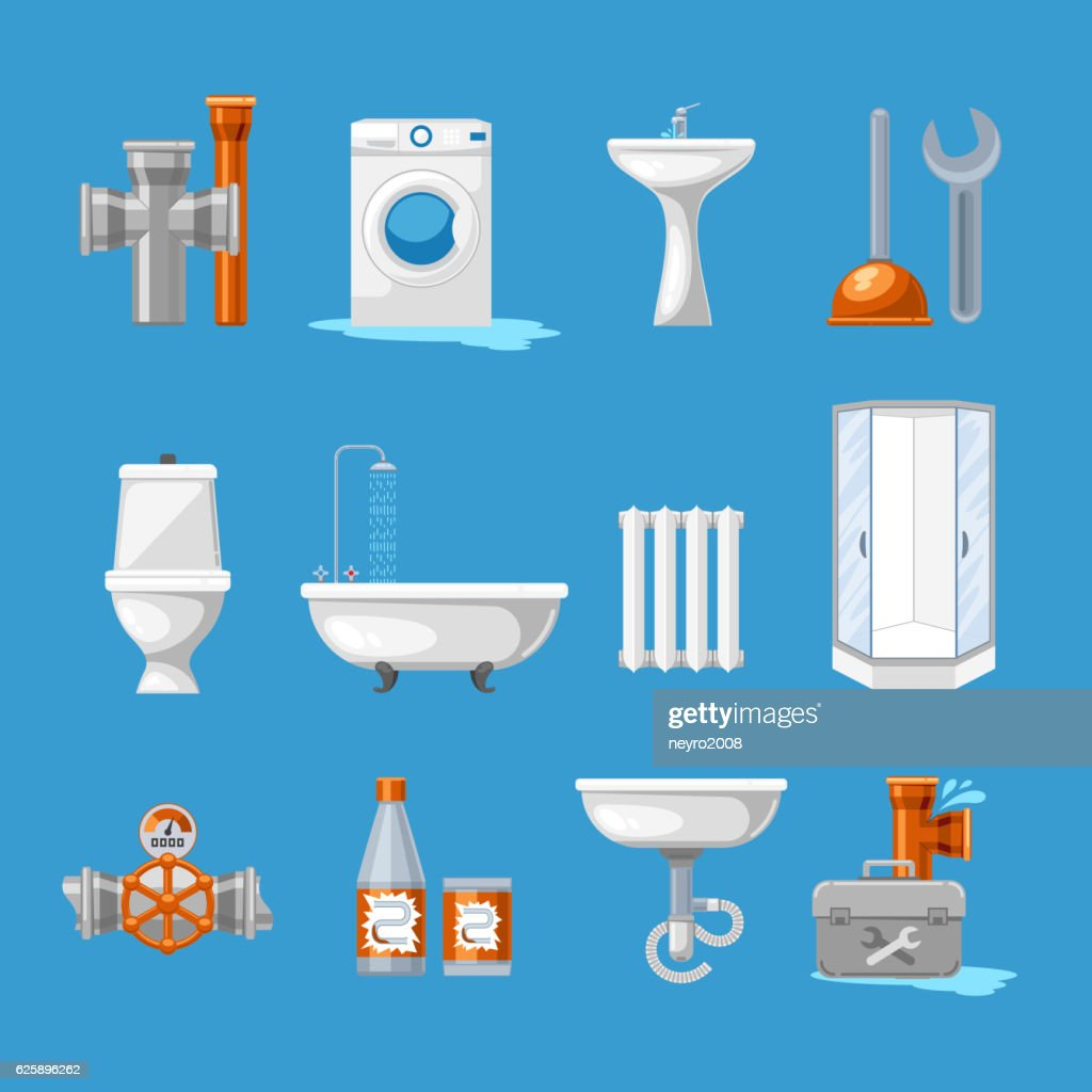 Plumbing Sanitary Engineering Icons Sink In Toilet Piping And ...