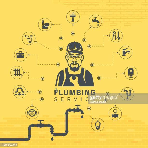 illustrations, cliparts, dessins animés et icônes de concept de service de plomberie avec le logo - cuvette des toilettes